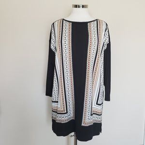 Zenergy By Chico's Size 1 Chain Print Black Tunic